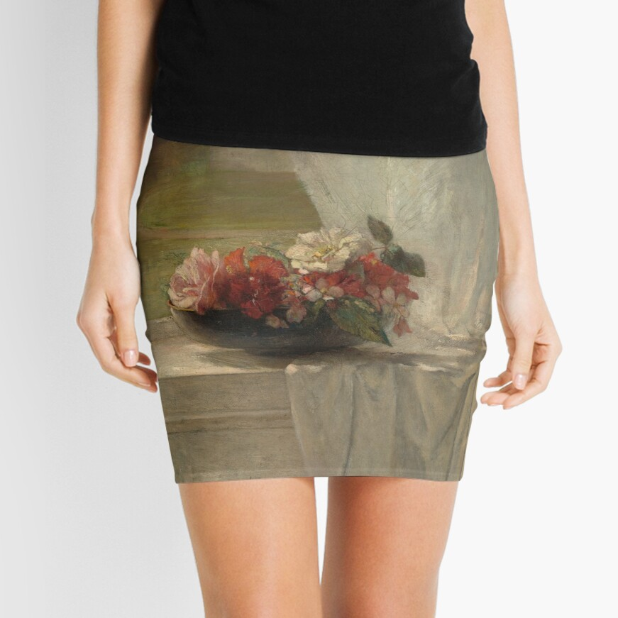 Flowers on a Window Ledge Oil Painting by John La Farge Mini Skirt