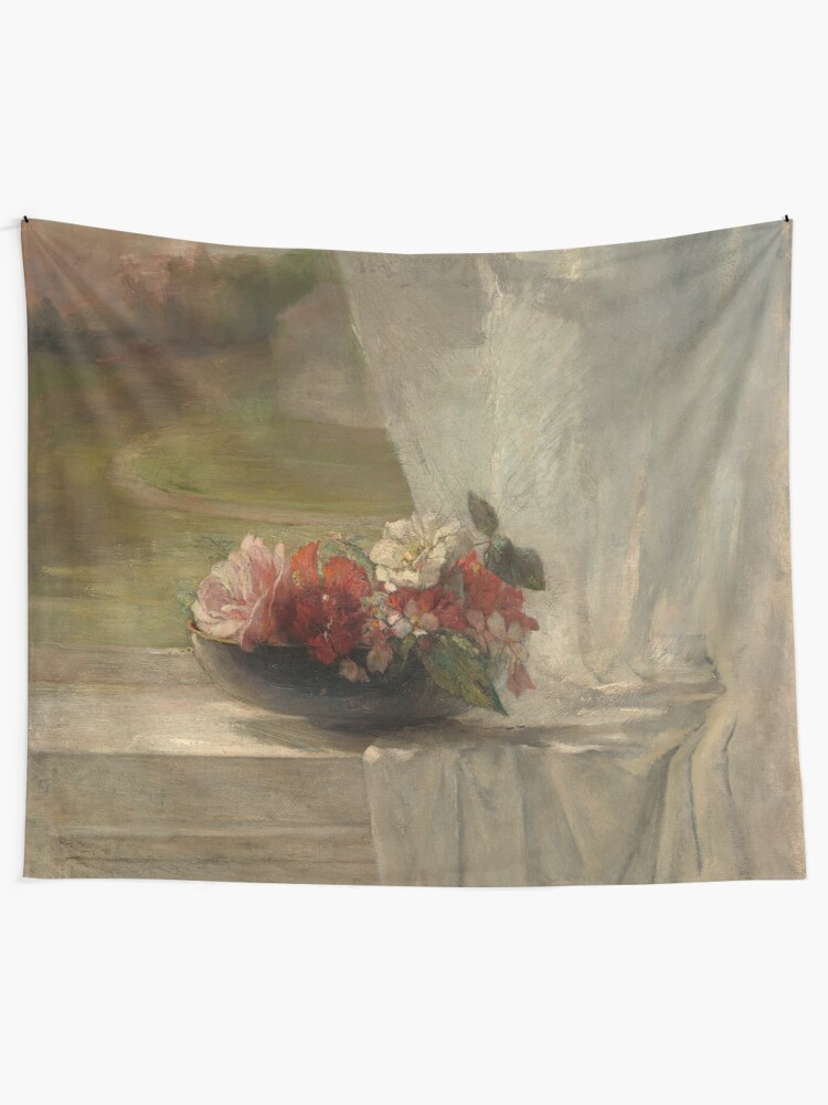 Alternate view of Flowers on a Window Ledge Oil Painting by John La Farge Tapestry
