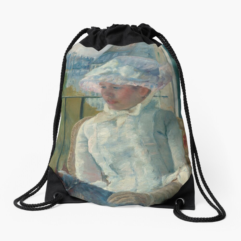Young Girl at a Window With Dog Oil Painting by Mary Stevenson Cassatt Drawstring Bag