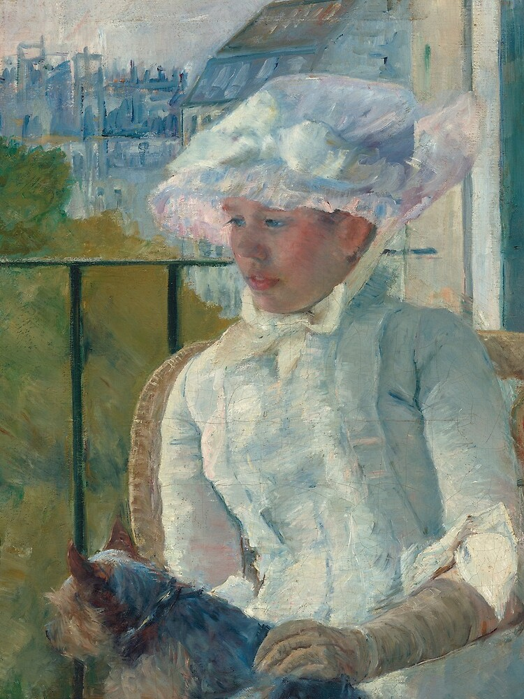 Young Girl at a Window With Dog Oil Painting by Mary Stevenson Cassatt by podartist