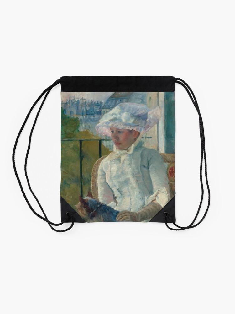 Alternate view of  Young Girl at a Window With Dog Oil Painting by Mary Stevenson Cassatt Drawstring Bag
