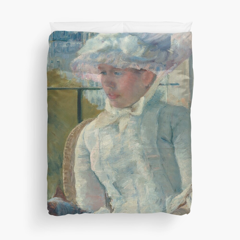 Young Girl at a Window With Dog Oil Painting by Mary Stevenson Cassatt Duvet Cover