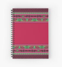 Red And Green Boho Style pattern. Spiral Notebook