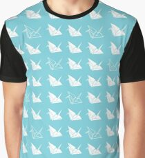 Cranes on Blue Graphic T-Shirt