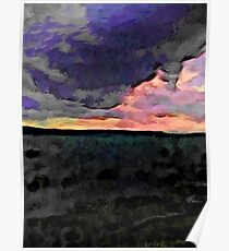 Pink Sky with Lavender Clouds and the Dark Sea Poster
