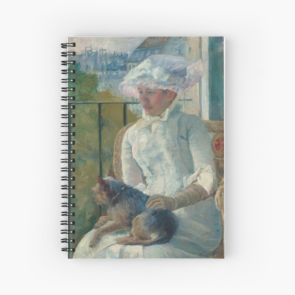Young Girl at a Window With Dog Oil Painting by Mary Stevenson Cassatt Spiral Notebook