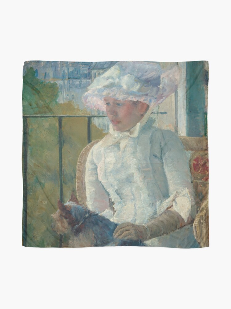 Alternate view of  Young Girl at a Window With Dog Oil Painting by Mary Stevenson Cassatt Scarf