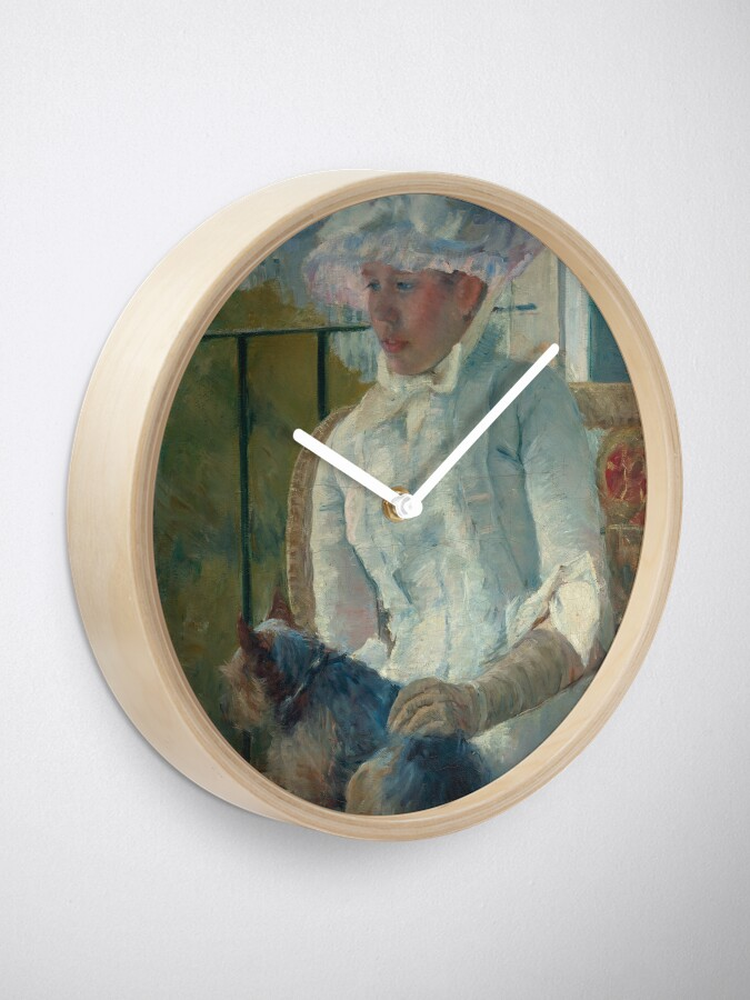 Alternate view of  Young Girl at a Window With Dog Oil Painting by Mary Stevenson Cassatt Clock