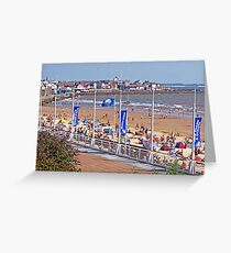 Bridlington beach in summer Greeting Card