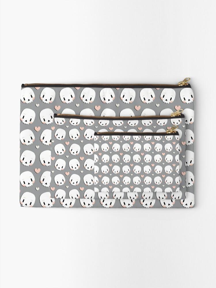 Alternate view of Skulls in love Zipper Pouch