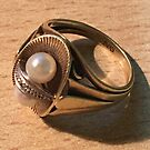 Art Nouveau/Art Deco Gold ring with Pearls by Hedgie's Nature & Gardening Journal