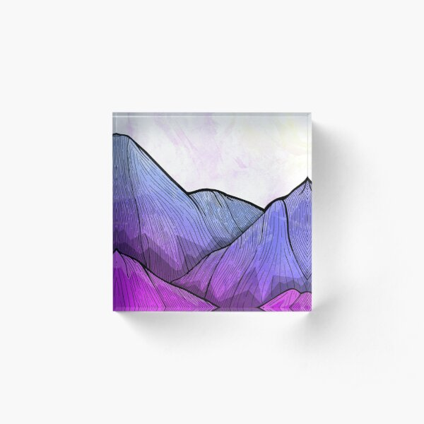 Early Morning Mountains Acrylic Block