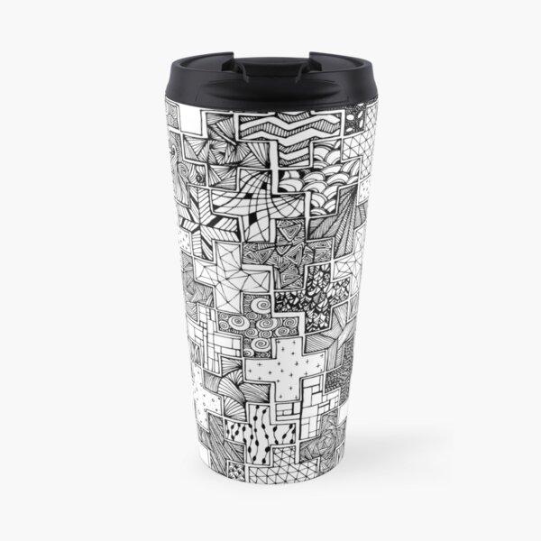 Textured Crosses Black n White Travel Mug