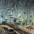 Swans, Ducks and Signets on the River Severn by Simon Mark Knott * Simbird *