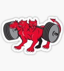 Cerberus Multi-headed Dog Hellhound Powerlifting Barbell Cartoon Sticker