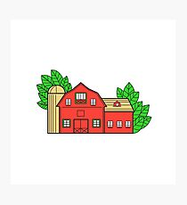 Vintage American Barn Leaves Mono Line Photographic Print