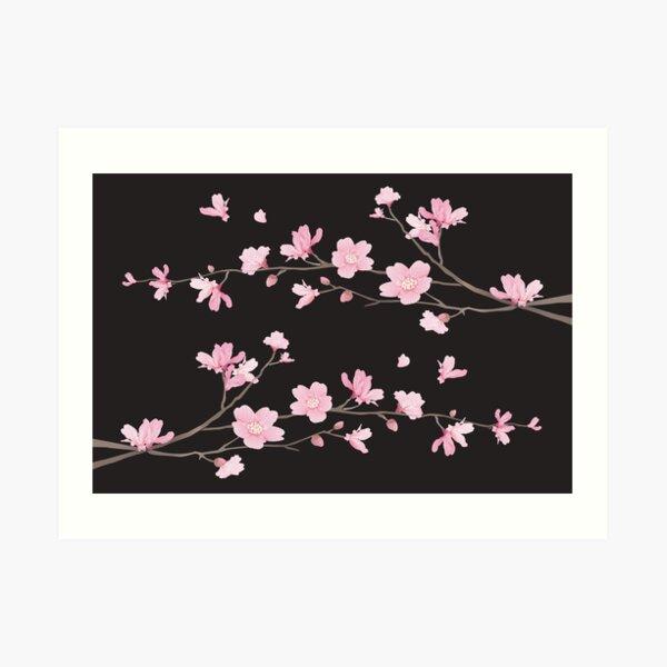 Cherry Blossom - Black Art Print