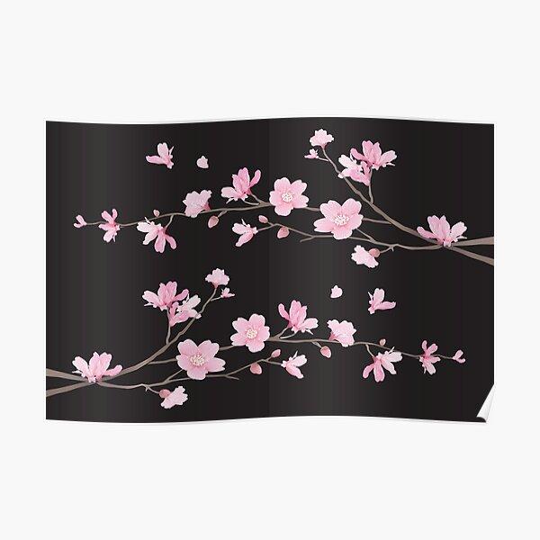 Flor de cerezo - negro Póster