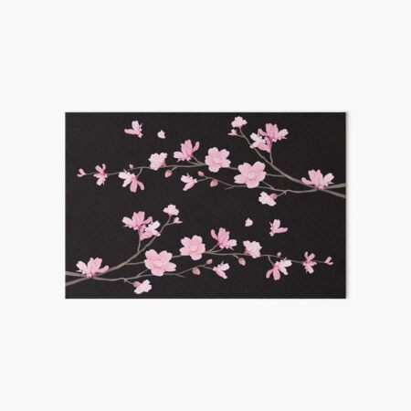 Cherry Blossom - Black Art Board Print