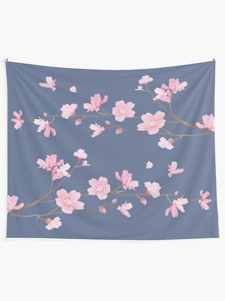 Vista alternativa de Tela decorativa Cherry Blossom - Denim