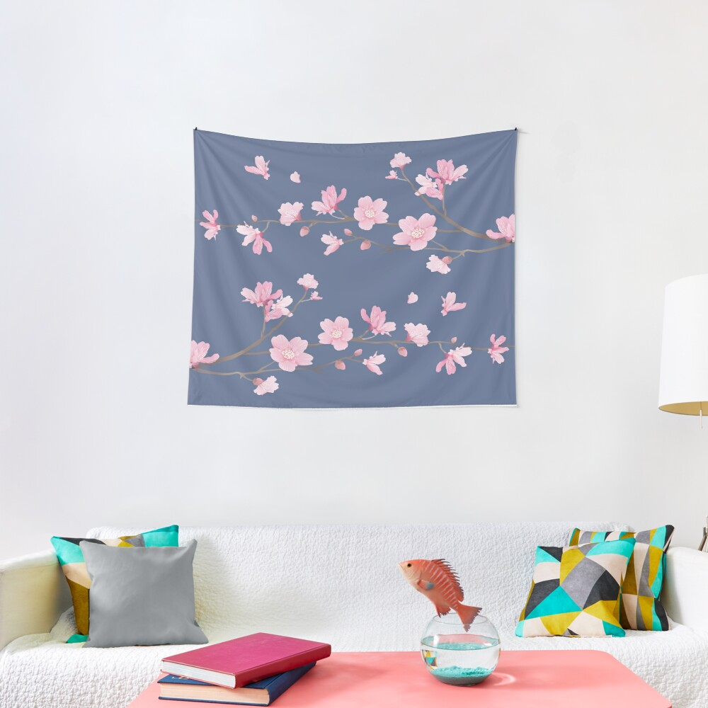 Cherry Blossom - Denim Tela decorativa