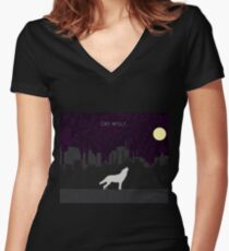 Cry Wolf Concept Women's Fitted V-Neck T-Shirt