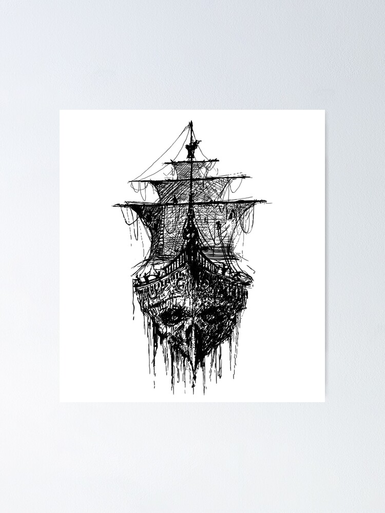 Pirate Ship Skull Tattoo Poster By Vicdesign Redbubble