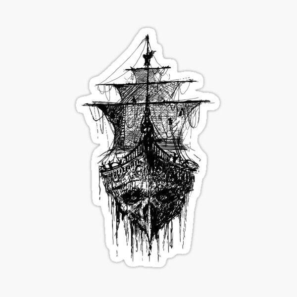 Gothic Skull Double Exposure Fantasy Pirate Ship View Wall Sticker Mural 731