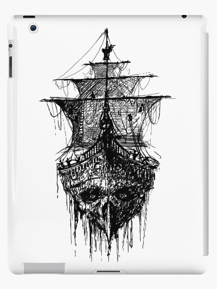 Coque Et Skin Adhesive Ipad Tatouage De Crane De Bateau De Pirate Par Vicdesign Redbubble
