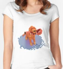 Voxel dog with ham Women's Fitted Scoop T-Shirt