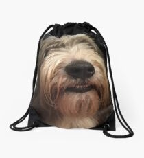 I Love Bearded Collies Drawstring Bag