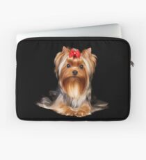 Yorkie with bow Laptop Sleeve