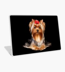 Yorkie with bow Laptop Skin