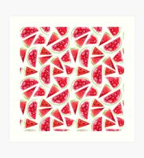 Aquarell Wassermelonenscheiben Kunstdruck