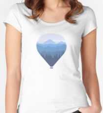 Hot air balloon over forest and mountains Women's Fitted Scoop T-Shirt