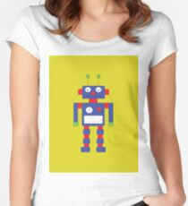 Blue, Red and Yellow Retro Robot Women's Fitted Scoop T-Shirt
