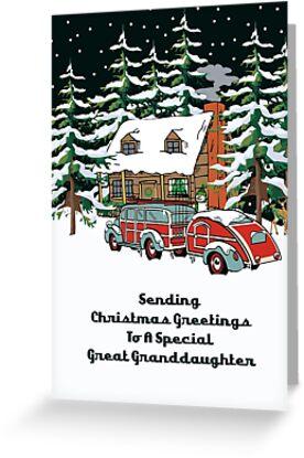 Great Granddaughter Sending Christmas Greetings Card by Gear4Gearheads