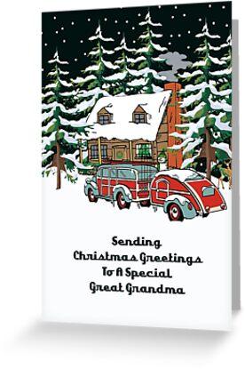 Great Grandma Sending Christmas Greetings Card by Gear4Gearheads