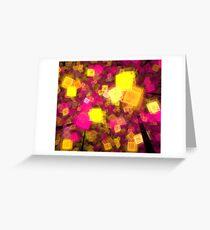 Yellow Pink Cubes Greeting Card