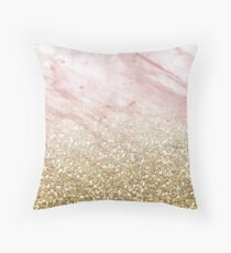 Rose gold marble sunset gradient Throw Pillow