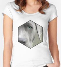 Cute geometric blue eyed dog Women's Fitted Scoop T-Shirt
