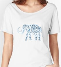 india art style floral elephant Women's Relaxed Fit T-Shirt