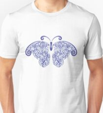 blue swirl pattern butterfly Unisex T-Shirt