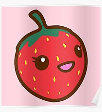 Kawaii Strawberry Poster