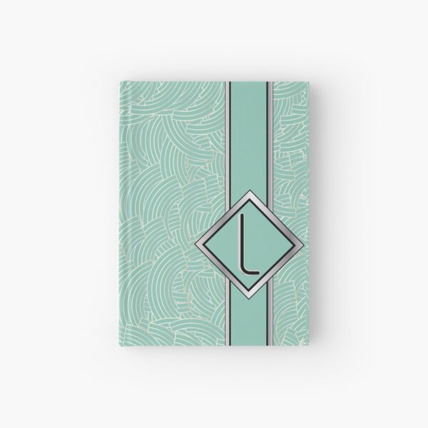 1920s Blue Deco Swing with Monogram letter L Hardcover Journal
