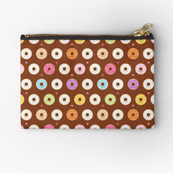 Colorful Donuts Pattern on brown Zipper Pouch