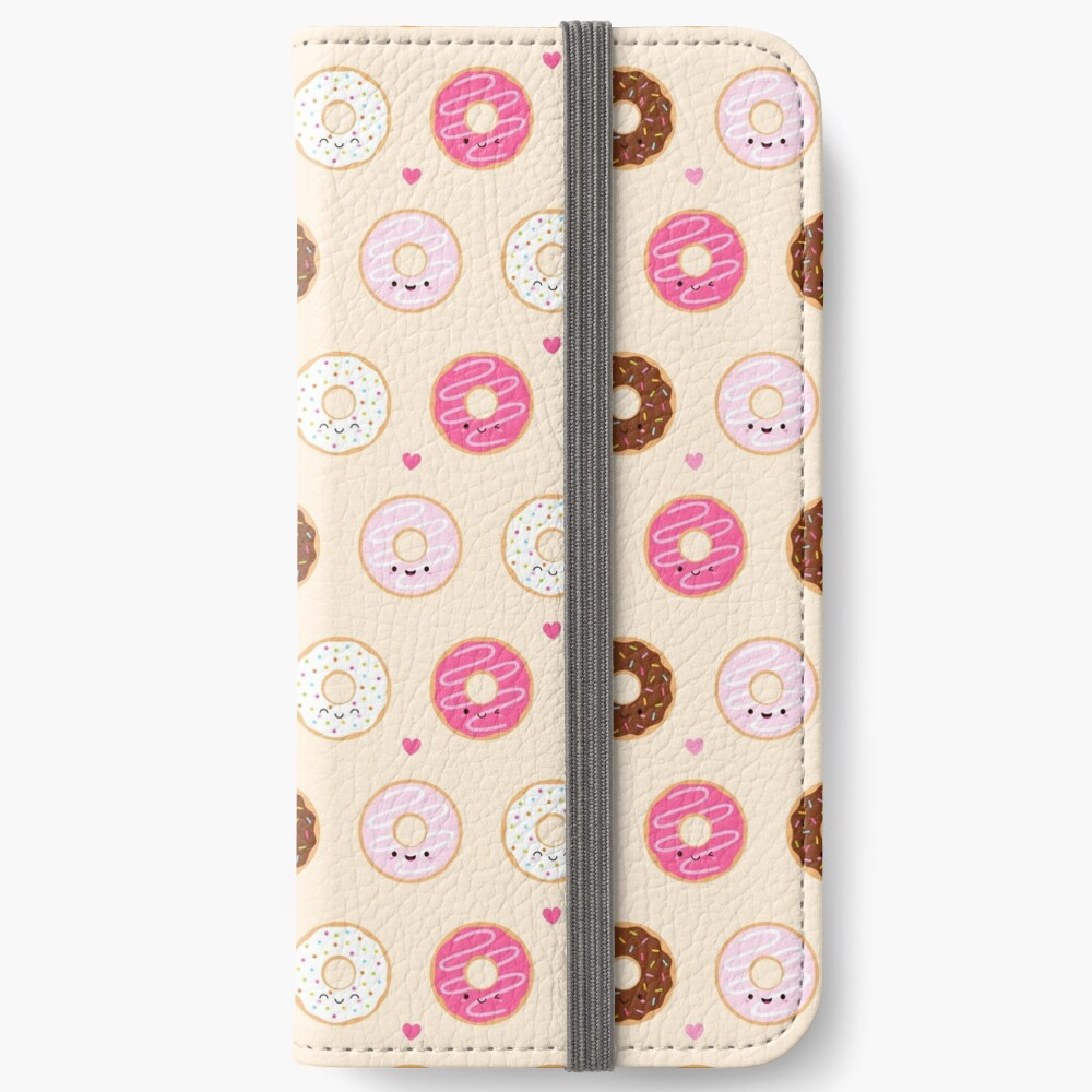 Cute Donuts Pattern on cream iPhone Wallet
