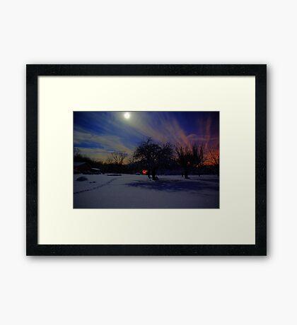 Frozen night Framed Print
