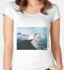 Iceland beach at sunset - Landscape Photography Women's Fitted Scoop T-Shirt