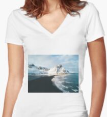 Iceland beach at sunset - Landscape Photography Women's Fitted V-Neck T-Shirt